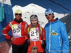 Победители Elbrus Race(слева-направо): Андрей Пучинин, Оксана Стефанишина, Анджей Баргиель